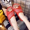 2016 летние тапочки женщин сандалии обувь Досуг тапочки скольжения на круглый носок из натуральной кожи сандалии, шлепки ML04