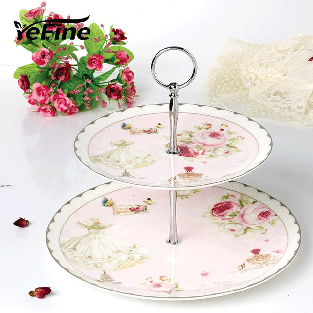 YeFine Bone China Cake Stand 2 u0026 3 Tier Candy Fruits Cakes Desserts Plate Wedding Party  sc 1 st  AliExpress.com & YeFine Bone China Cake Stand 2 u0026 3 Tier Candy Fruits Cakes Desserts ...