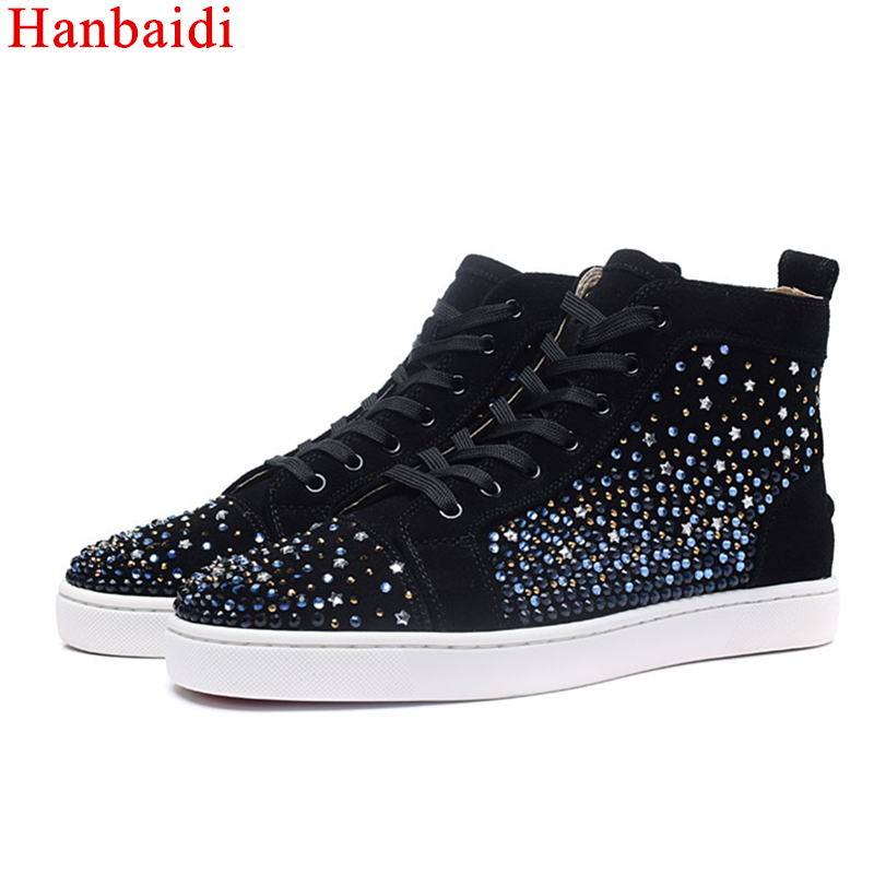 Hanbaidi Fashion Men's Sneakers Studded Rivets Casual Black Round Toe Shoes Man Heavy Bottom Lace Up Male Flats Zapatos Hombre marmot midweight bottom cocona man black