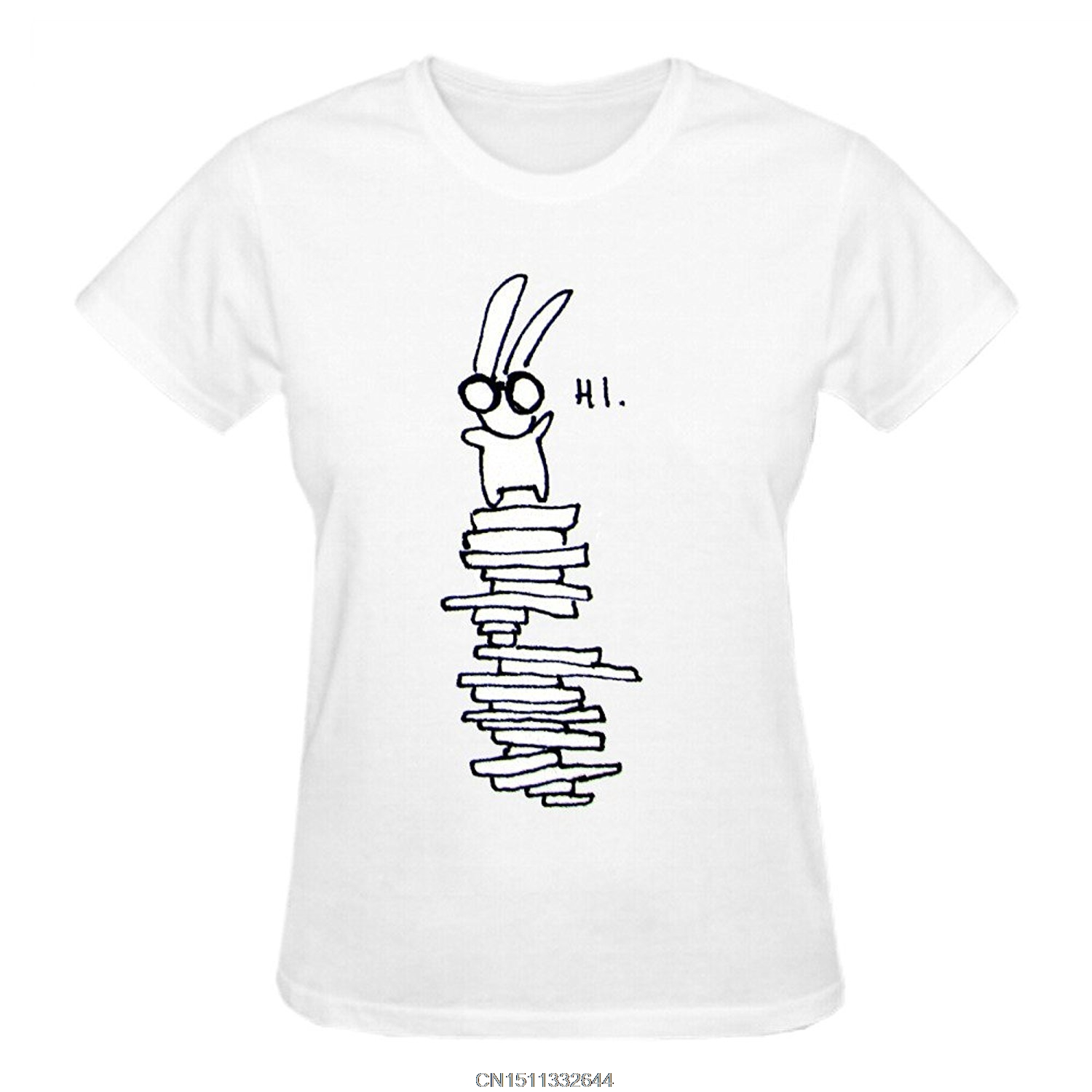 Design your own t-shirt female - Jzecco Premium Fitted Quality Tee Shirts Bunny Glasses Says Hi Design Your Own T Shirts Women