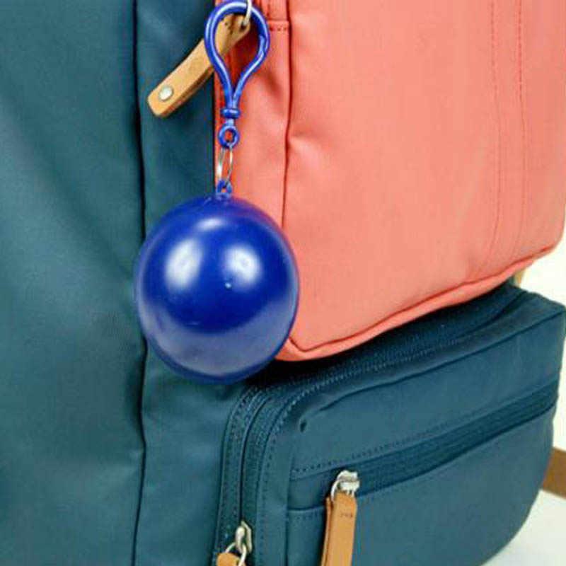 1 PC Portable Jas Hujan Sekali Pakai Bola Jas Hujan Plastik Perjalanan Darurat Hujan Hujan Sekali Pakai Gantungan Kunci Bola