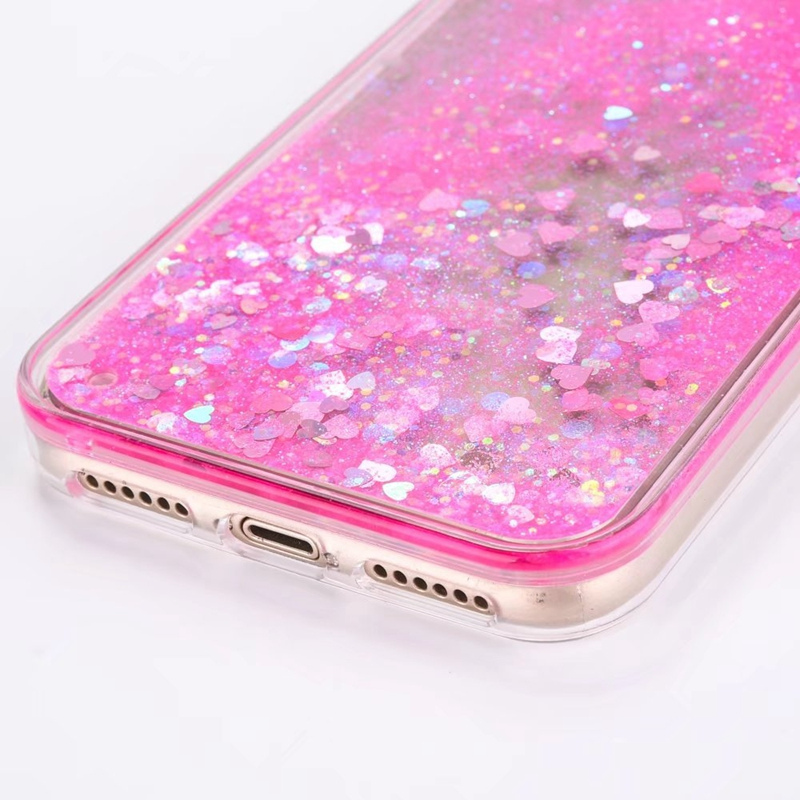 Glitter Flowing Case For iPhone 5S SE Bling Love Liquid Quicksand Phone Cases For iPhone 5 6 6S 7 8 Plus X Girly Cute Cover Capa in Fitted Cases from Cellphones Telecommunications