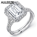 Sólido 9 K Oro Blanco Doble Vástago Anillos Para Mujeres de Halo Brillante 5 Carat Emerald Cut Boda de Compromiso de Diamantes Simulados anillo