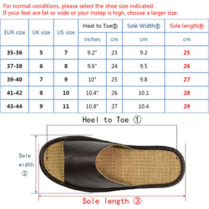Image 4 - Genuine Cow Leather slippers couple indoor non slip men women home fashion casual single shoes TPR soft soles spring summer 510m