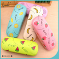 New Design Cute Multicolor Fruit Pattern PU Leather Glasses Case Metal Eyewear Glasses Box for Gift