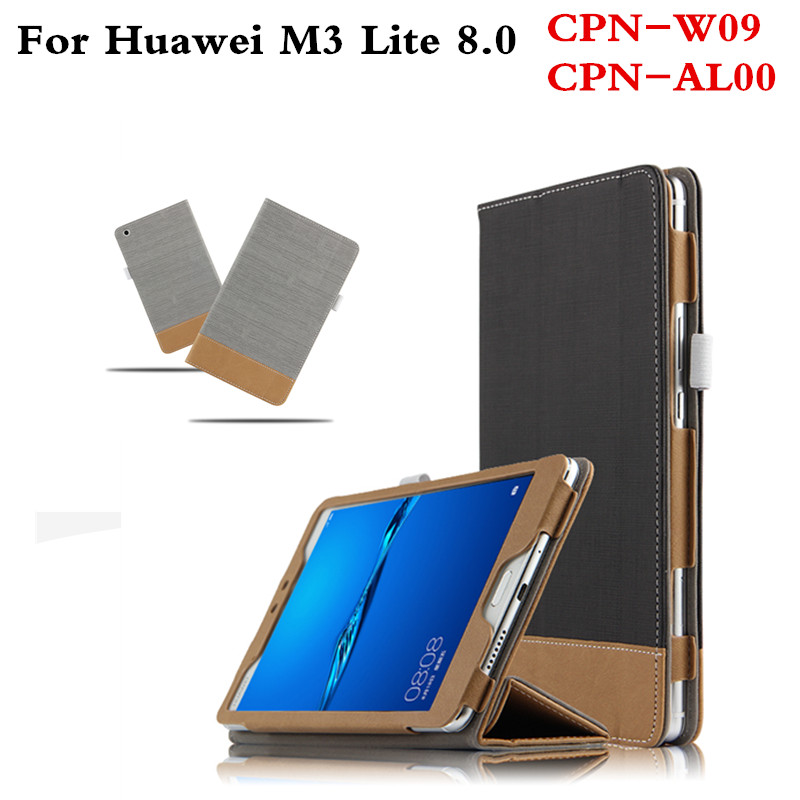 Patchwork With Magnetic PU Leather cover Protective Flip Case For Huawei MediaPad M3 Lite 8 CPN-W09 CPN-AL00 8.0 inch Tablet for 2017 huawei mediapad m3 youth lite 8 cpn w09 cpn al00 8 tablet pu leather cover case free stylus free film