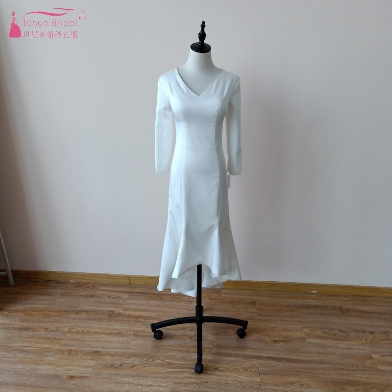 Simple Low Key Wedding Dresses: Simple Wedding Dress Tea Length V Neek Zipper Soft Satin