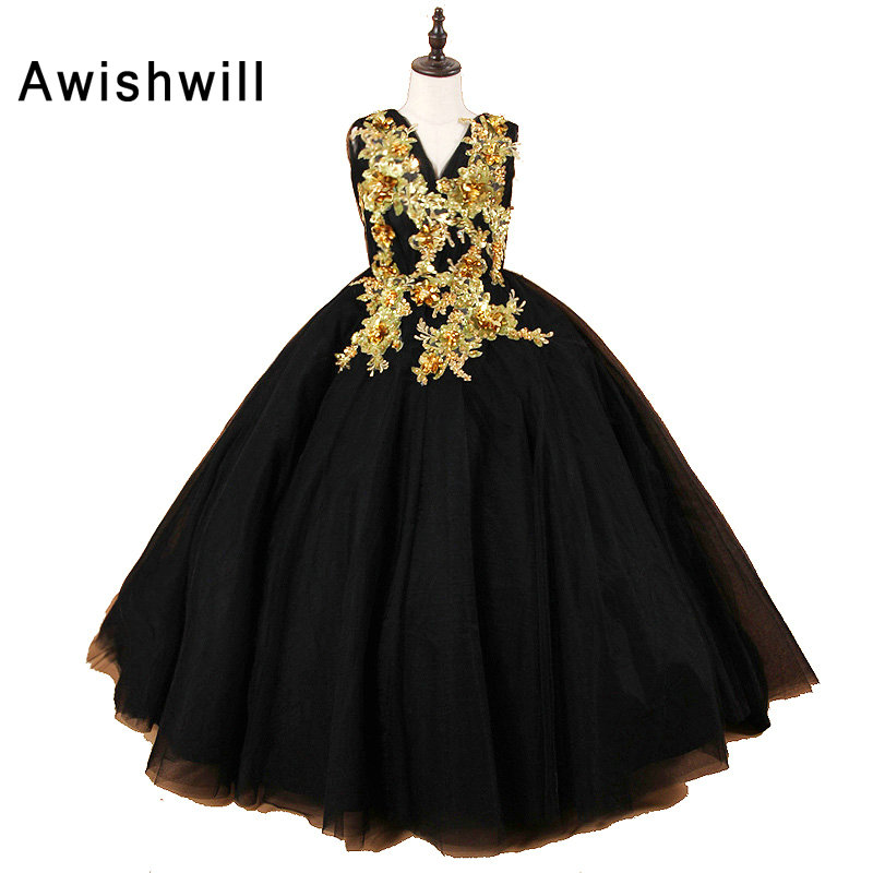 Real Photo Black Ball Gown   Flower     Girl     Dresses   2019 V-Neck Appliques Tulle Long Train   Girls   Communion   Dress   Children Prom Gowns