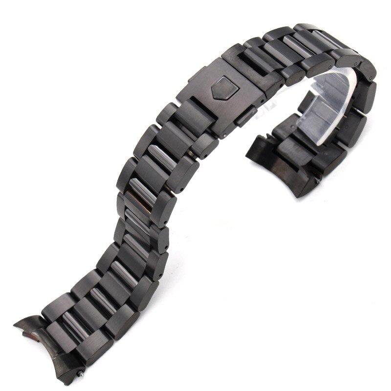 Prix pour 22mm En Acier Inoxydable Bande de Montre Bracelet Argent Mens De Luxe Remplacement Curved End Bracelet En Métal Bracelets Accessoires