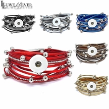 Hot Double Circle Magnet Bangle Really Genuine Leather 298 fit 18mm Snap Button Bracelet Charm Jewelry For Women Gift 39cm metal double circle hooked bracelet