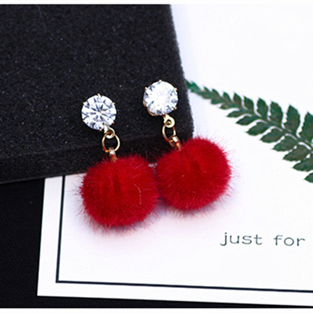 E0358 New Arrival Simple Autumn and Winter Hairy Velvet Ball Earrings Plush Ball Earrings Cute Candy Earrings Gift Wholesale