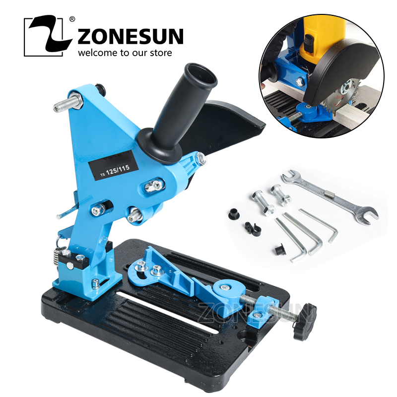 ZONESUN Free shipping Electric Angle Grinder Stand Cutter Support Bracket Holder Dock Cast Iron Base 115-125mm applicatori di etichette manuali