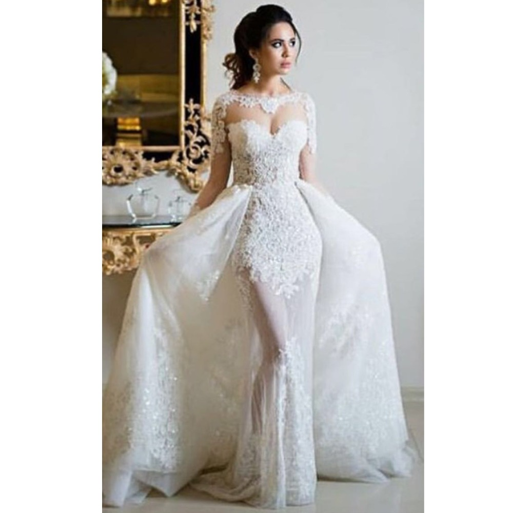 2016 Designer Vintage O Neck Liqued Beaded Sheer Lace Long Sleeve Mermaid Overskirt Wedding Dresses With Train In From Weddings Events