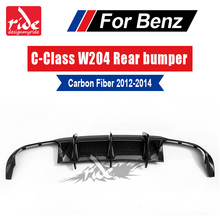 C Class W204 Carbon Fiber rear lip spoiler Diffuser For for Mercedes Benz C180 C63 Sedan 4Door 2012-14 No hole  Rear Bumper