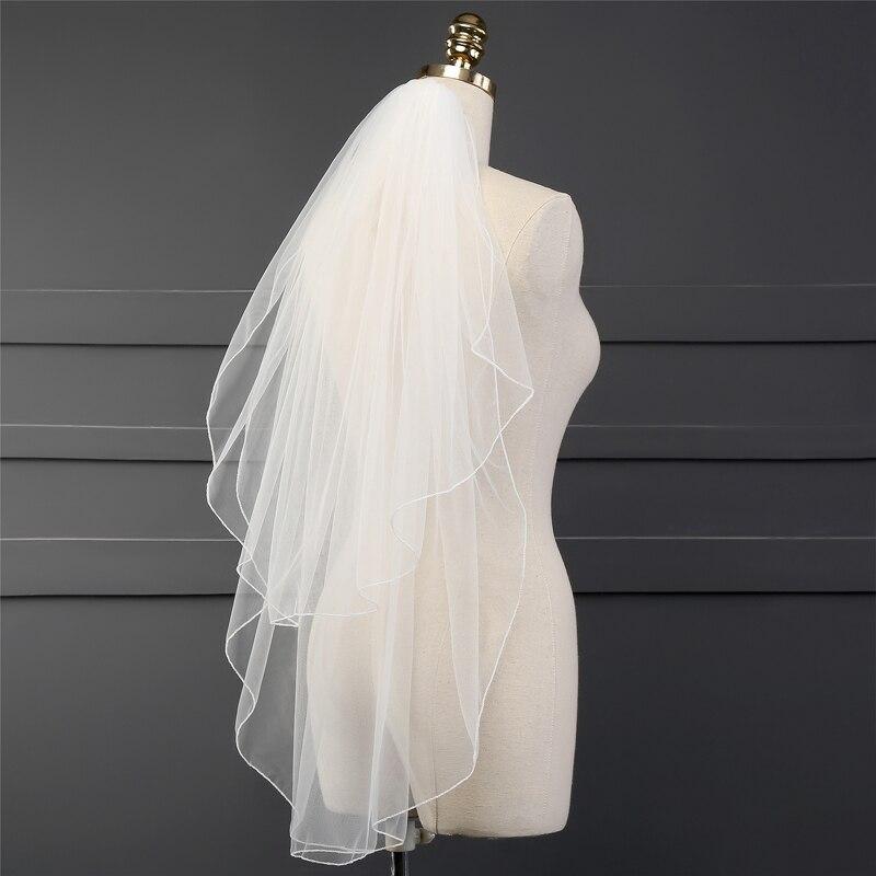 34d0878327 Novedad velo de novia barato de dos capas 2019 accesorios de boda veu de  noiva velo de novia corto de mariee sluier