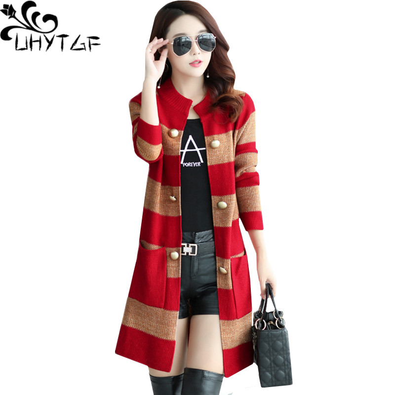 UHYTGF 2019 Long-sleeved Women Autumn Winter Cardigan Sweater Coats Double-breasted Stripes Plus Size Knitted Sweater Jacket 203