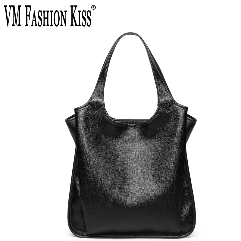 VM FASHION KISS Women Solid Genuine Leather Casual Tote Shoulder Bags Soft Bolsas Feminina Designer Handbags High Quality Hand rhythm настенные часы rhythm cmh750nr06 коллекция