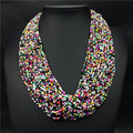Multi-Layer Colorful Beaded Big Choker Necklace 2016 New Fashion Party Jewelry For Women Bohemia Africa Wedding Bijoux Collar