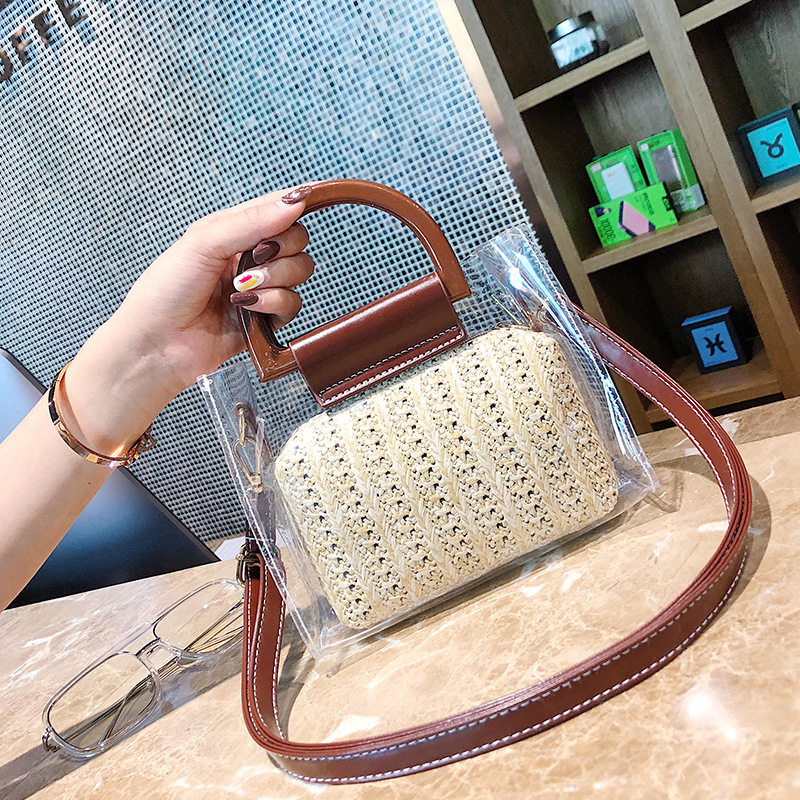 Women Famous Brand Clear Bags Summer 2019 Small Transparent Handbag Straw Crossbody Shoulder Bag Two Piece Lady Travel Beach Bag in Shoulder Bags from Luggage Bags