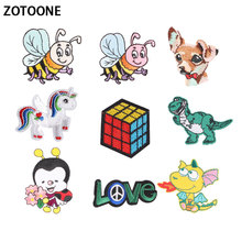 ZOTOONE Unicorn Letter Patches Kids Cheap Cute Embroidered Food Iron on Cartoon for Clothing DIY Appliques E