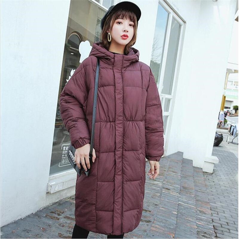 Large Size Women Winter Long Coat Thicken Warm Bat Sleeved Solid Female Outerwear Jacket Hooded Casual Slim   Parka   Ladies Coat