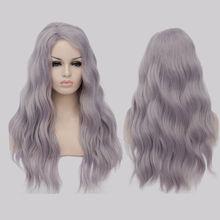 Best Seller 65 cm Púrpura Pelucas Sintéticas Largo Rizado Ondulado Moda Mujer natural Barato Peluca de Pelo Explosión Del Partido de Cosplay