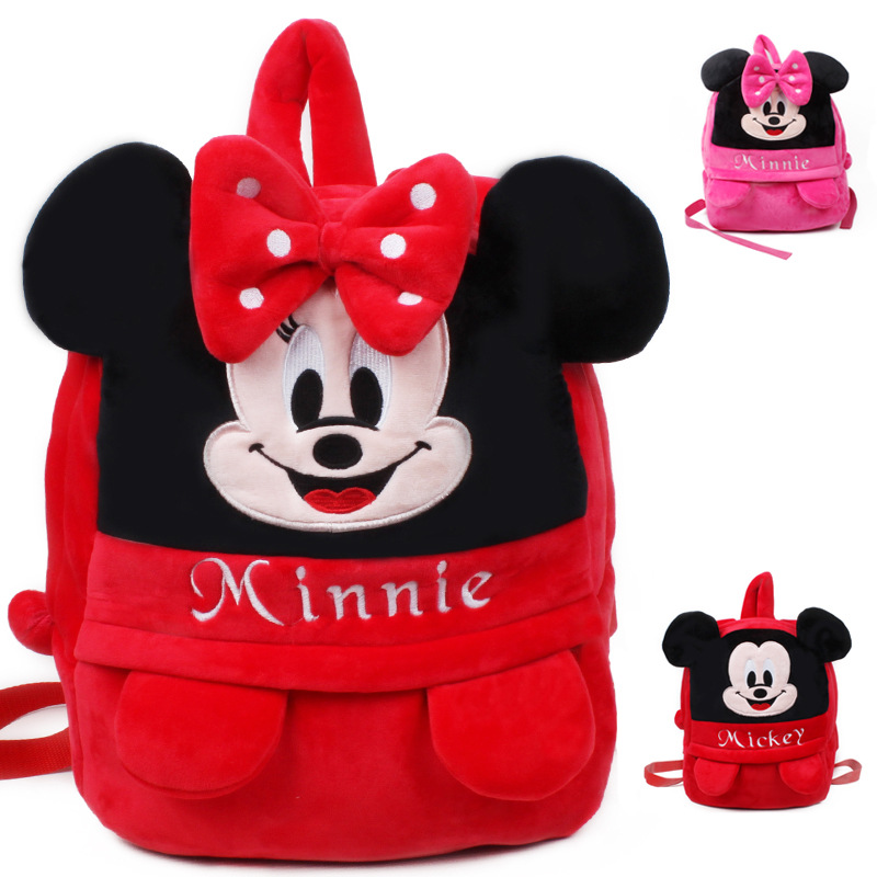 High quality lovely Mickey Minnie children backpack mochila shool bag kids plush backpack for 3-7 years old