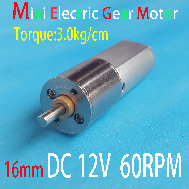 Mini micro electric gear motor 12v dc 60rpm torque for Small electric motor gears