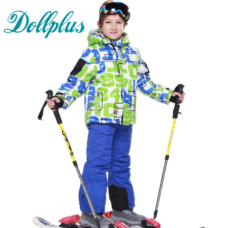 Russian Winter Children Clothing Sets Windproof Ski Suit Boys Winter Kids Warm Fleece Boys Ski Jackets+Bib Pants 2pcs Clothes boys fleece jackets solid coat kid clothes winter coats 2017 fashion children clothing