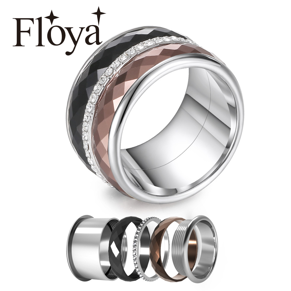 Floya Full Zircon Titanium Rings 3 Layers Stainless Steel Interchangeable Band Arctic Symphony Wedding Ring Femme Gift For Girl-in Rings from Jewelry & Accessories