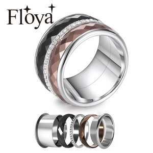 Image 1 - Floya Full Zircon Titanium Rings 3 Layers Stainless Steel Interchangeable Band Arctic Symphony Wedding Ring Femme Gift For Girl