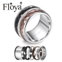 Floya Zircon แหวนไทเทเนียม 3 ชั้นสแตนเลส INTERCHANGEABLE Band ARCTIC Symphony งานแต่งงานแหวนของขวัญ Femme สำหรับสาว