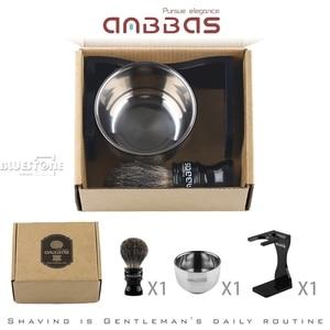 Image 5 - Anbbas Barber Rasierpinsel Dachs Haar, Schwarz Acryl Stand, Schüssel Set
