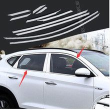 2016 2017 FIT FOR HYUNDAI TUCSON UPPER WINDOW SILL CHROME TRIM LINING MOLDING STYLING COVER BEZEL FRAME GARNISH SURROUND(China)
