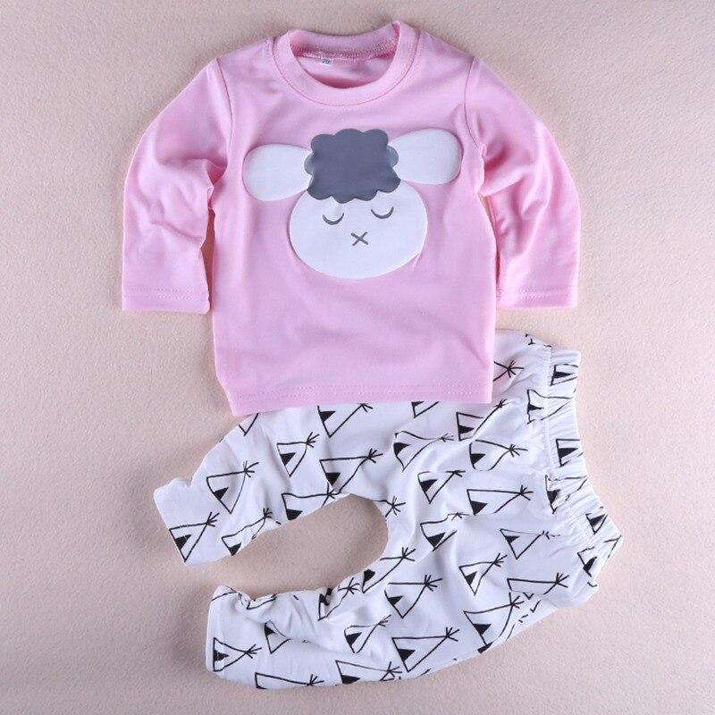2 шт. новый милый ребенок Петти Одежда для девочек хлопковая одежда для маленьких девочек комплект Длинные рукава Костюмы Футболка с принто...