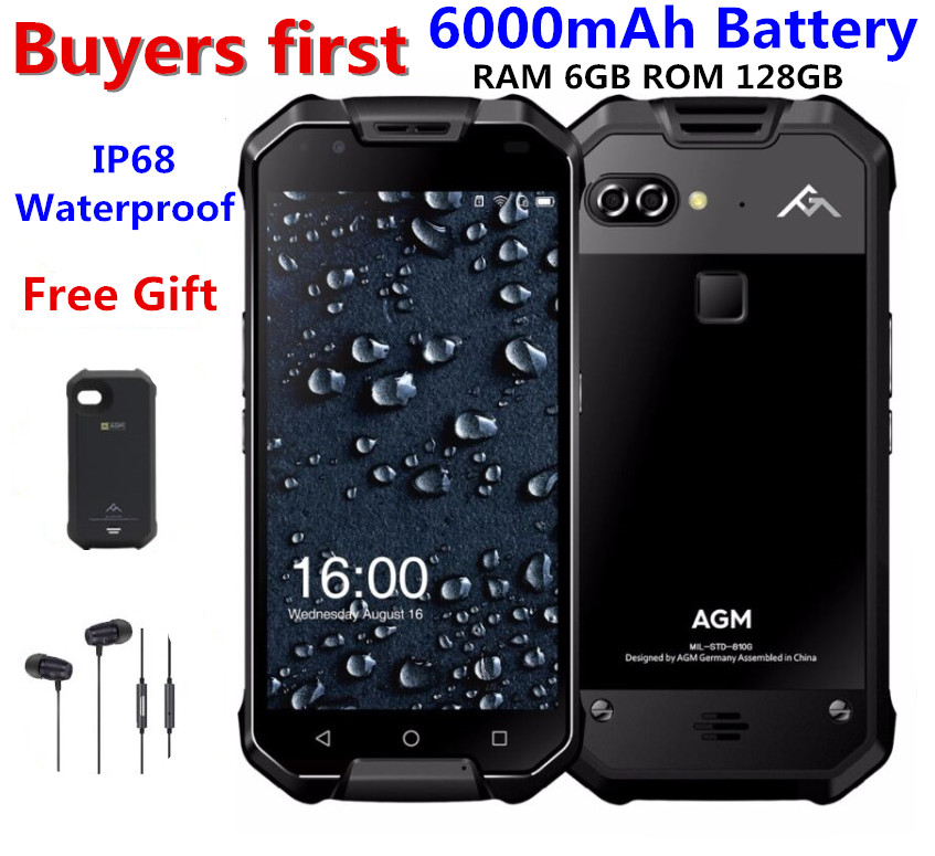 "AGM X2 IP68 Waterproof Mobile Phone 5.5"" 6GB RAM 64GB/128GB ROM Android 7.1 MSM8976SG Octa Core 12.0MP 6000mAh NFC smartphone"