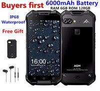 AGM X2 водонепроницаемый мобильный телефон с IP68 5,5 6 ГБ Оперативная память 64 ГБ/128 ГБ Встроенная память Android 7,1 MSM8976SG Восьмиядерный 12.0MP 6000 мАч NFC С
