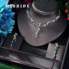 HIBRIDE 新到着キュービックジルコニア花の葉のネックレスペンダントとイヤリング 2 個女性のファッションジュエリーセットビジューファム n 58