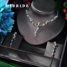 HIBRIDE New Arrival Cubic Zirconia Flower Leaf Necklace Pendant and Earring 2pcs Set for Women Fashion Jewelry Bijoux femme N 58