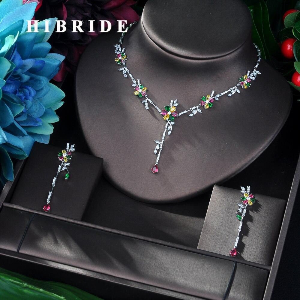 HIBRIDE nouveauté cubique zircone fleur feuille collier pendentif et boucle d'oreille 2 pièces ensemble pour les femmes mode Bijoux Bijoux femme N-58