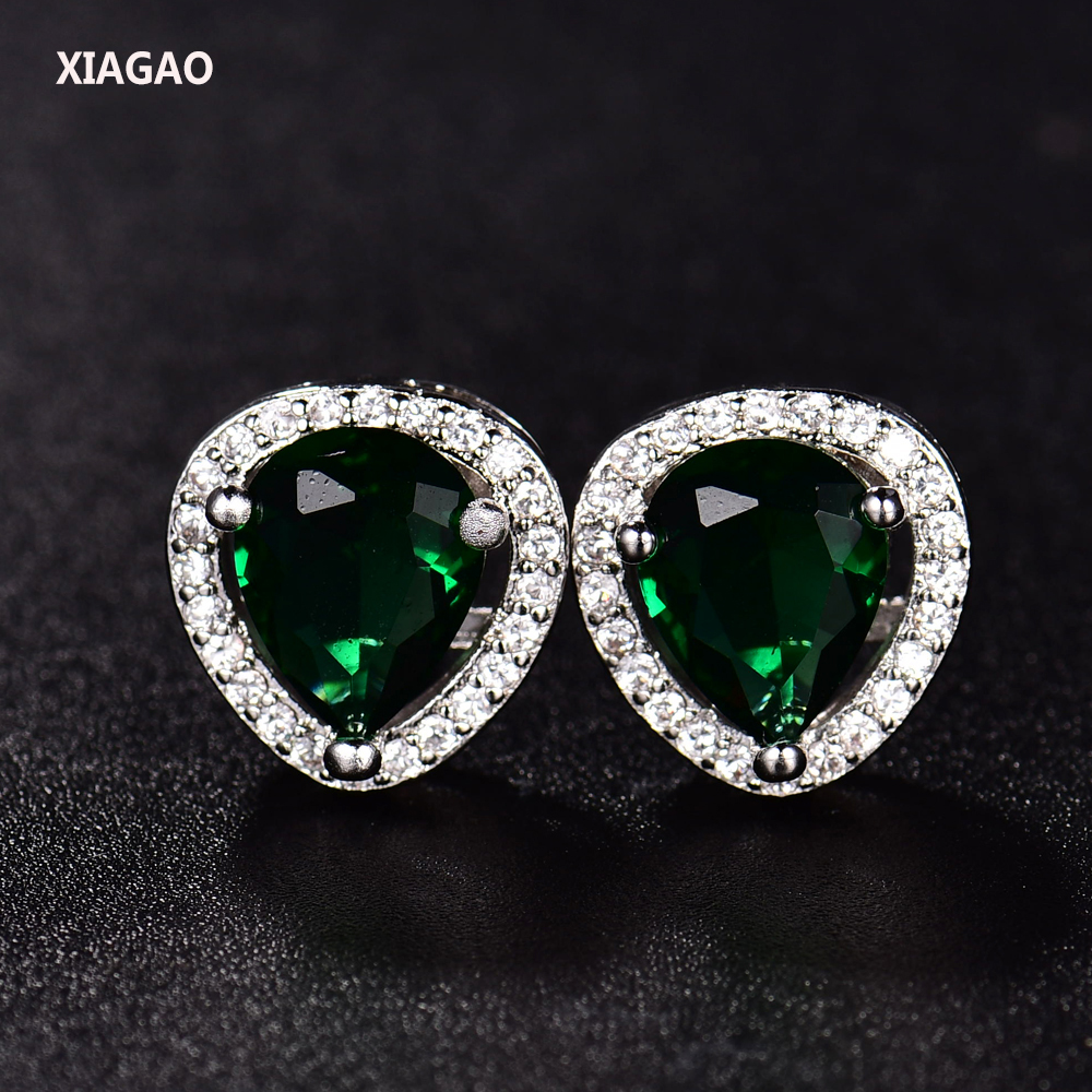 XIAGAO Pretty Emerald Ruby Sapphire Topaz Wedding Jewelry Water-drop Brinco Crystal  Ear Stud Earrings For Women Free Ship&Bag