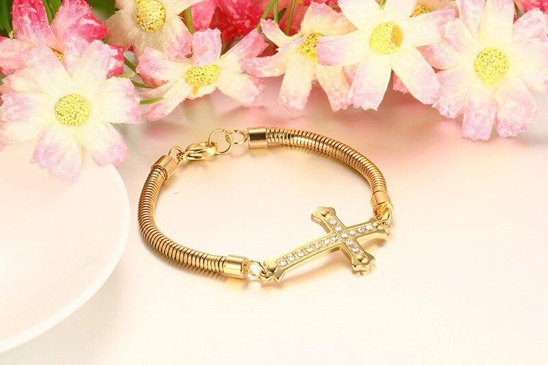 Новинка 2016 золотое покрытие женщина 4.2 мм cz каменный крест браслет из нержавеющей стали для женских украшений