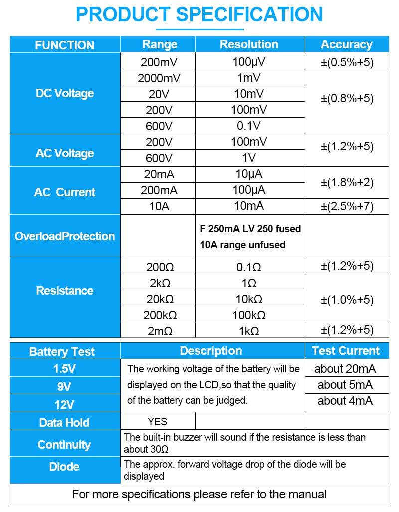 all-sun EM382B skystųjų kristalų skaitmeninis multimetras - Matavimo prietaisai - Nuotrauka 4