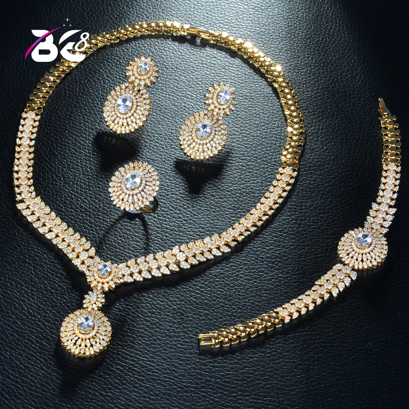 Be 8 Beauty Flower Design Dubai Gold Jewelry Sets for Women Elegent Cubic Zircon Paved Bride 4pcs Wedding Sets Acessories S280