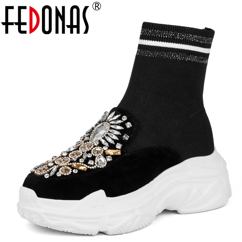 цена на FEDONAS 1Fashion Women Ankle Boots Cow Suede Autumn Winter Warm Platforms Flats Shoes Woman Rhinestone Round Toe Socks Boots