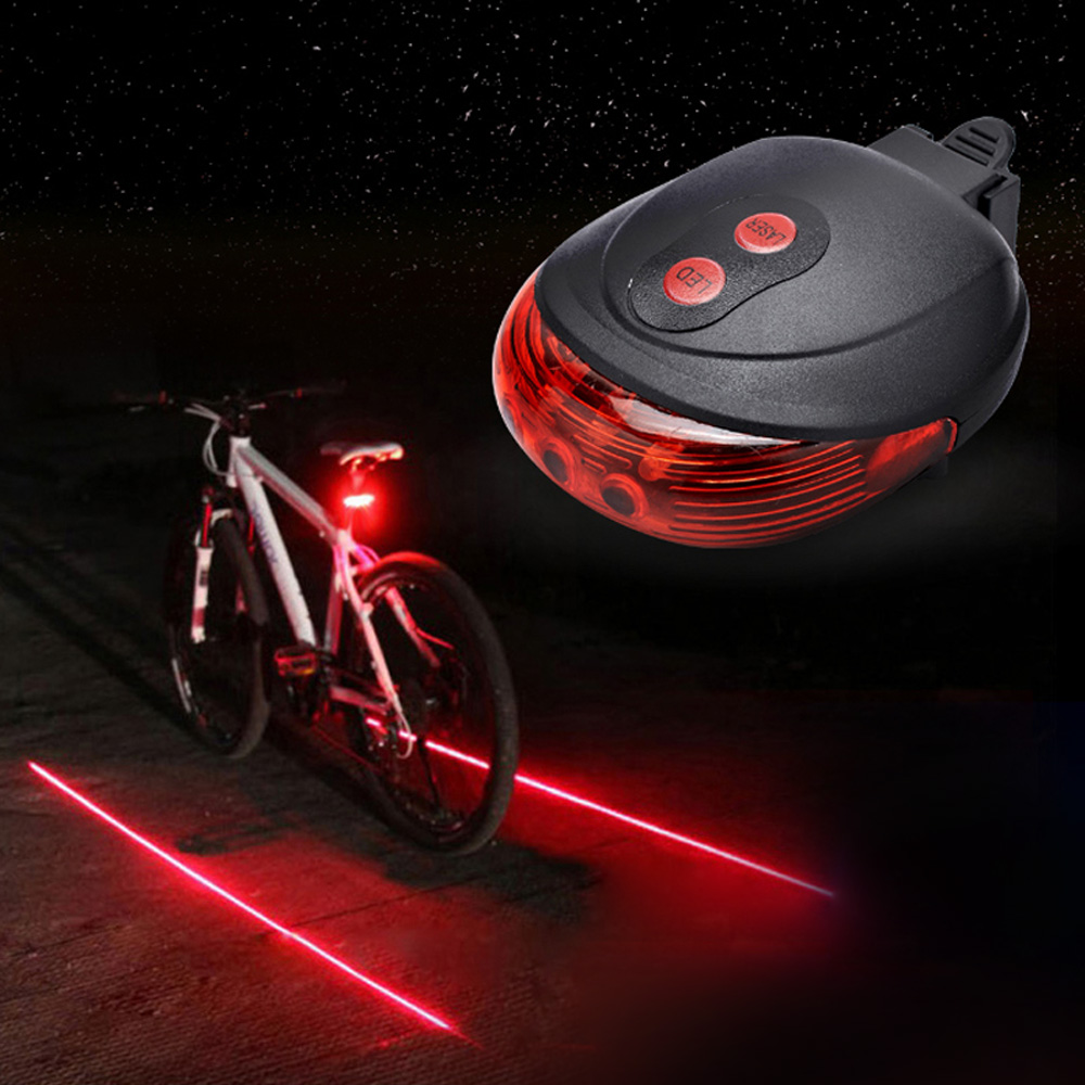 New 5 LED /& 2 Laser Bicycle Light Rear Laser Flashing Tail Warning Safe Lamp