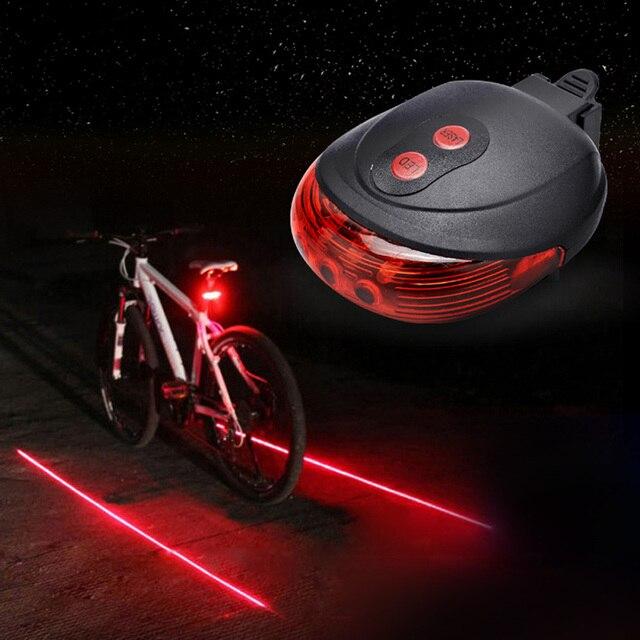 5 LED+2 Laser Waterproof Rear Bicycle Light Laser Tail Warning Lamp Flashing Rear Lamp MTB Bike Light Mountain Bike Safety