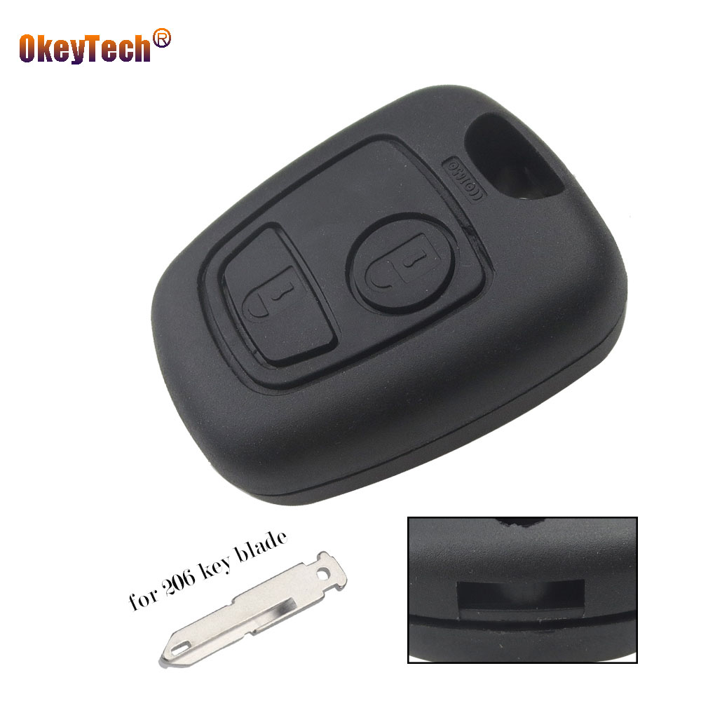 OkeyTech 2 Button Remote Car Key Fob Case Cover Fob for Peugeot 206 307 407 Keyless Entry Replacement Shell Not Include Blade okeytech toy47 blade car remote key shell keyless case fob 2 button for toyota yaris carina corolla avensis auto replacement key