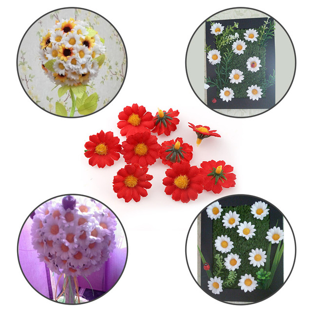 100PC/lot  2.5cm Mini Daisy Decorative Flower Artificial Silk Flowers Party Wedding Decoration Home Decor(without stem) Cheaper 3