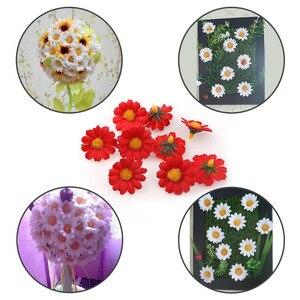 Image 3 - 100 adet/grup 2.5cm Mini papatya dekoratif çiçek yapay ipek çiçekler parti düğün dekorasyon ev dekor (kök) ucuz